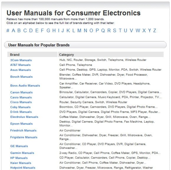 1000+ Consumer Electronics Manuals for free download