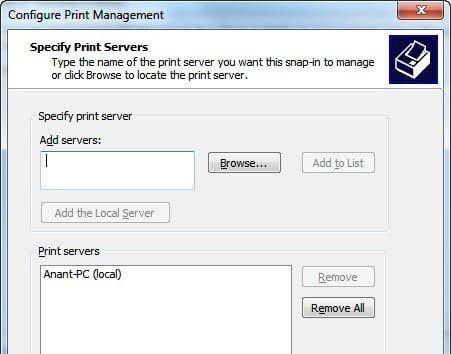 Add Local Print Server to MMC