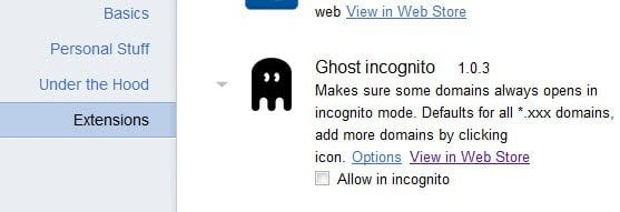 Allow Extension to run in Incognito Mode