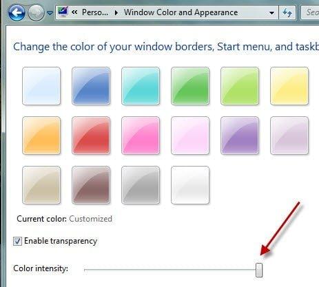 Change Colour Intensity in Windows