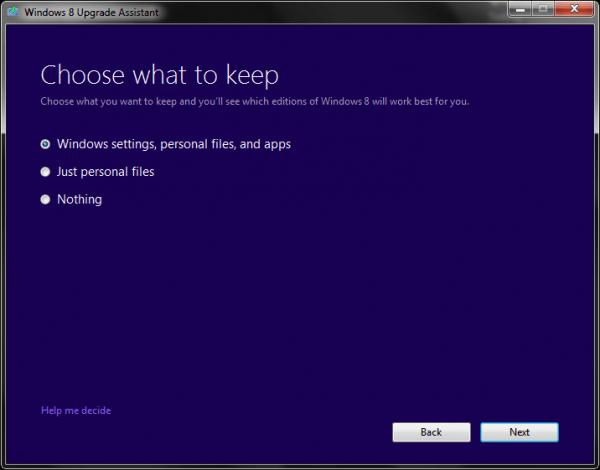 Choose what to keep Windows 8 Upgrade