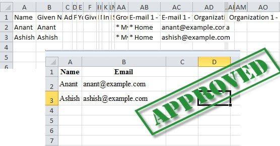 Cleanest way to Export Google Contacts to Excel