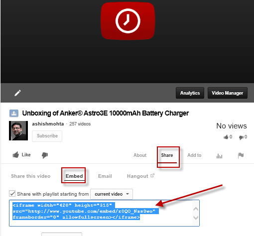 Copy Embed Code of uploading youtube video