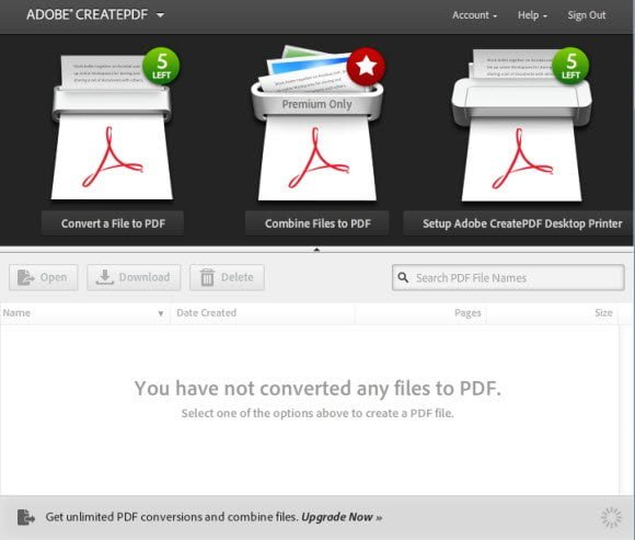 Create PDF from Adobe