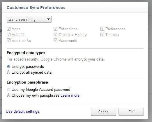 Customize Sync preferences