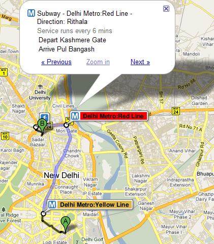 Delhi Metro on Google Maps