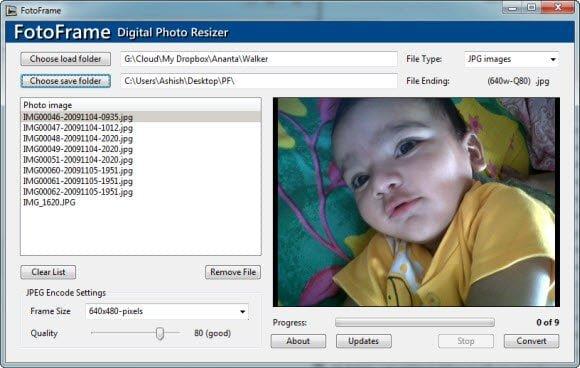 Digital Fotoframe Image resizer