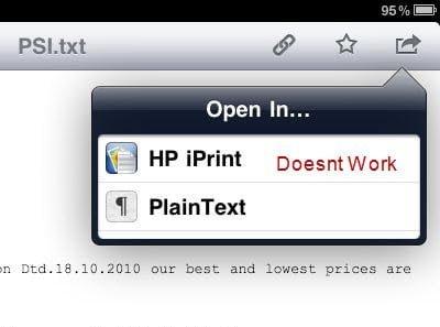 Dropbox HP iPrint Issue