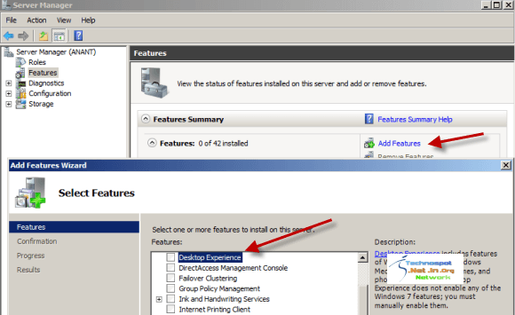 Enable Desktop Experience Features in Windows Server 2008 R2
