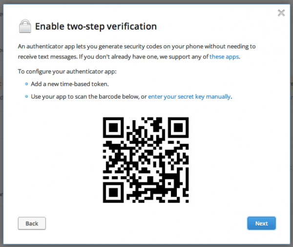 Enabling Time Based Auth Barcode