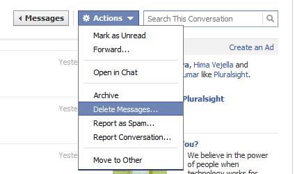 Facebook Default Delete Action