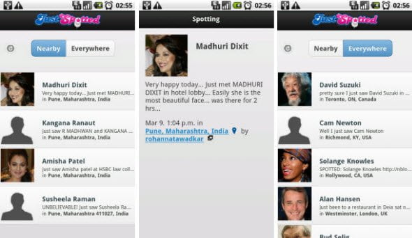 Free Android app updates you when a celebrity is spotted near you