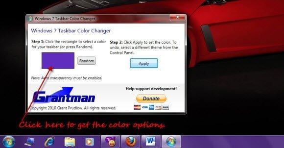 Free Download Windows 7 Taskbar Color Changer