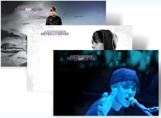 Free Justin Bieber Never Say Never theme for Windows 7