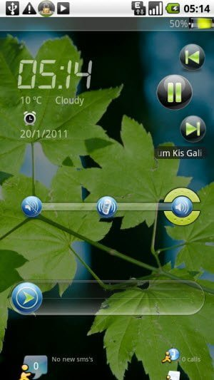 Free Screen Locking app for Android displays weather, temperature, notifications, and a quick access to music player