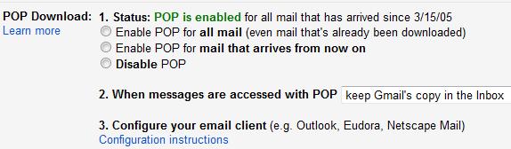 Gmail POP Download