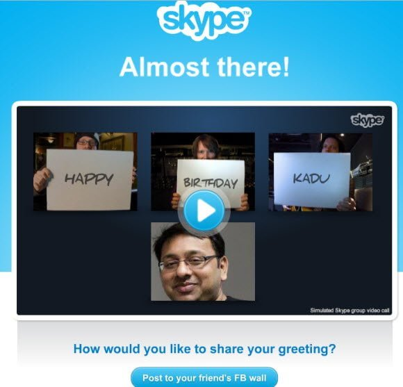 Happy Birthday Kadu via Skype