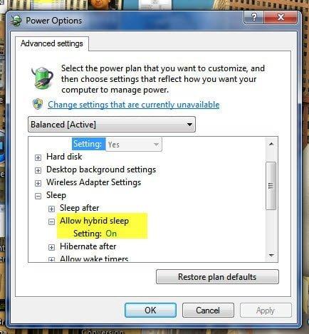 Hybrid Sleep Power Options