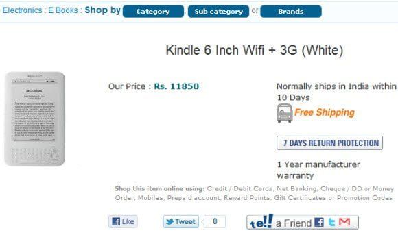 Kindle Pricing in India
