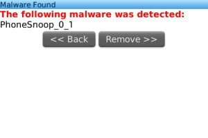 Kisses detects a Spyware on your BlackBerry