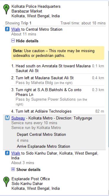Kolkata Directions include Metro