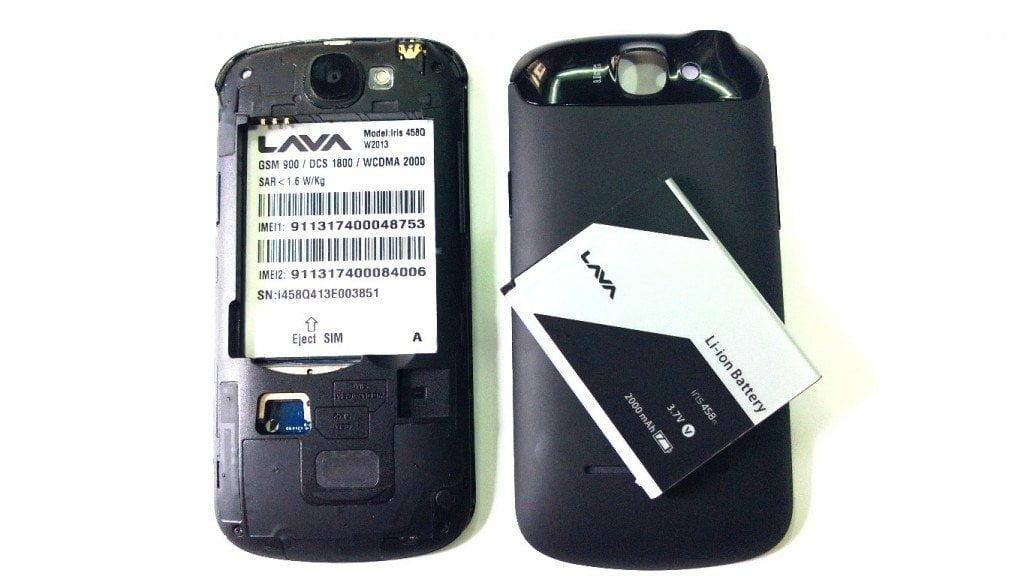 Lava Iris 458q Battery and Backpanel