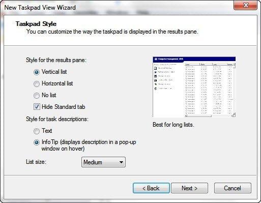 MMC TaskPad Style