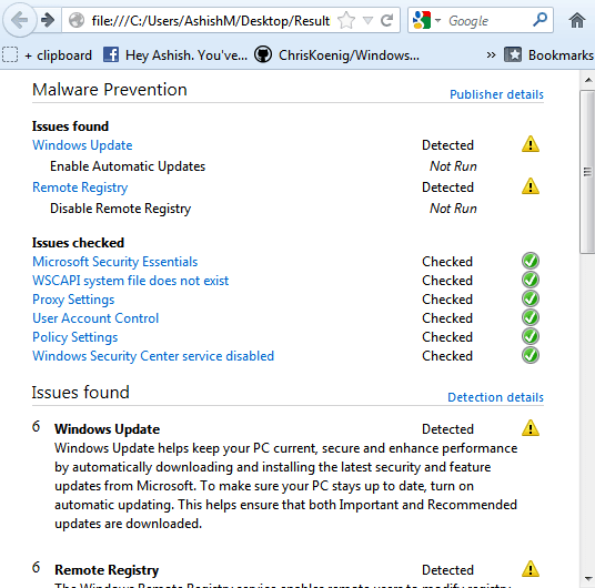 MS Security Troubleshooter Report