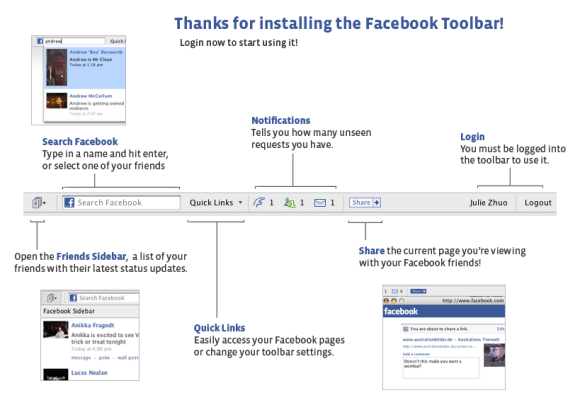 Manage Facebook account using a toolbar in Firefox and Internet Explorer