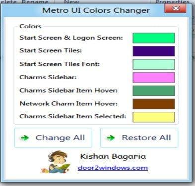 Change Metro Color Scheme in Windows 8