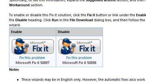 Microsoft Fix it 50897