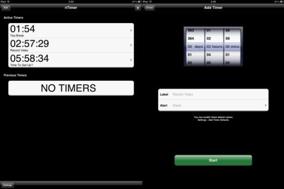 Multiple countdown timer for iPad