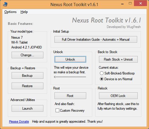 Nexus 7 Root Toolkit Options