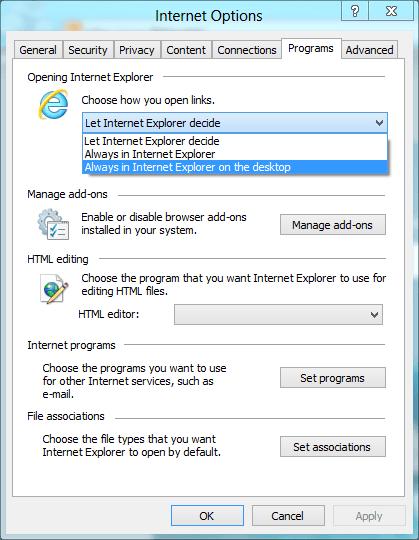 Open Links in IE Desktop Mode
