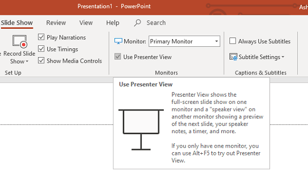 Presenters View in PowerPoint