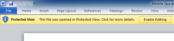 Protected View in Office 2010