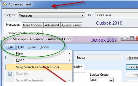 Query Builder Difference Outlook 2007-10
