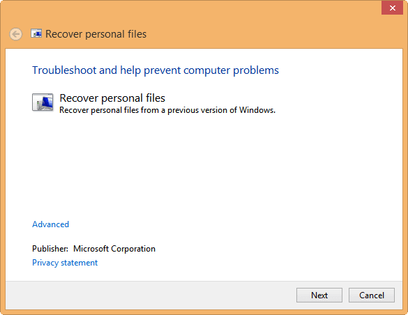 Recover Personal Files after Upgrade in Windows 8