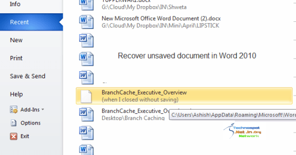 Recover Unsaved Documents in Word