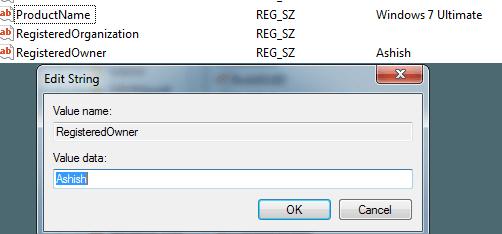 Registered Name Windows 7