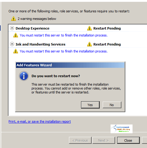 Restart Server after installing feature