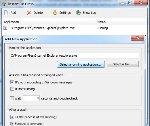 Restart on Crash Application
