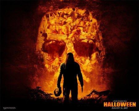 Scary Halloween Wallpaper Man and Golden Skull