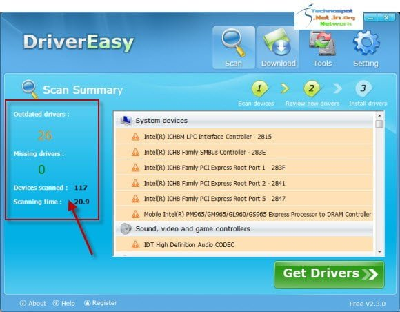 Scan for missing and outdated Drivers on you system with DriverEasy
