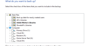 Select File and Folders for Backup