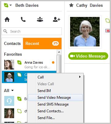 Send Video Message on Skype
