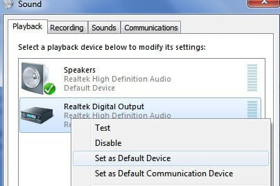 Set as Default Device