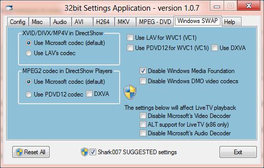 Shark Windows 8 Codec Settings