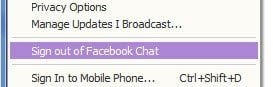 Signout of Facebook Yahoo Messenger