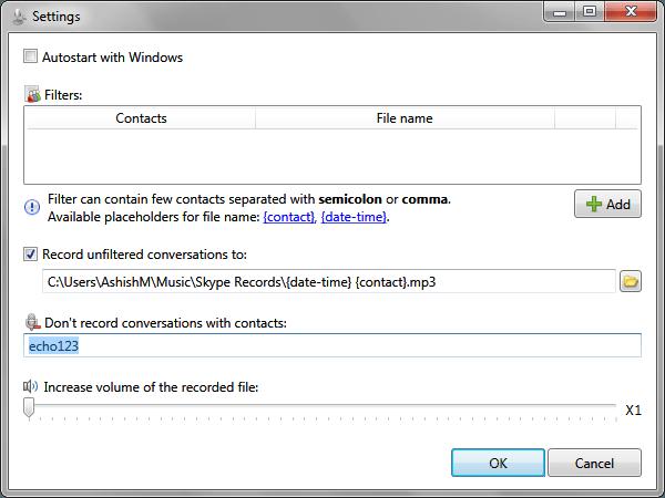 Skype Call Recorder Settings